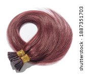 Small photo of Pre Bonded Straight Stick Tip (i tip fusion)Claret Red Human Hair Extensions