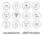 christmas black line icons set. ... | Shutterstock .eps vector #1887351826