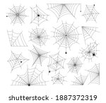 Halloween Cobweb and spiders. Spooky art element set. Webs of various shape and form hanging with crawling scary arachnid insects for decoration, vector illustrations isolated on white background
