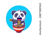 Cute Panda Eating Noodle Ramen...