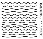 set of wavy  zigzag  horizontal ... | Shutterstock .eps vector #1887380860