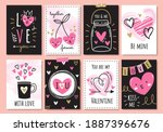 set of cute valentine cards in... | Shutterstock .eps vector #1887396676