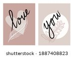 two set of boho neutral pink... | Shutterstock .eps vector #1887408823