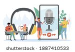 podcast listening. happy young...   Shutterstock .eps vector #1887410533