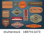denim labels. graphic leather... | Shutterstock .eps vector #1887411673