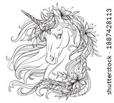 Drawing Isolated Unicorn With...