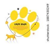yellow modern graphic cat paw... | Shutterstock .eps vector #1887430249