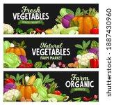 vegetables banners  farm market ... | Shutterstock .eps vector #1887430960