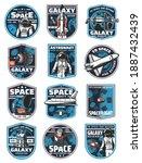 astronaut in galaxy  rocket in... | Shutterstock .eps vector #1887432439