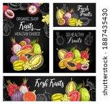 exotic fruits vector posters... | Shutterstock .eps vector #1887435430