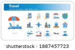 travel  icons set. ui pixel...
