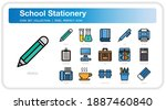 school stationery  icons set....
