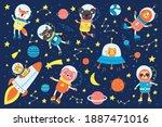 set of cute animals astronauts  ... | Shutterstock .eps vector #1887471016
