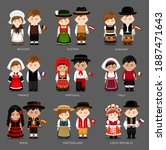 people in national dress.... | Shutterstock .eps vector #1887471643