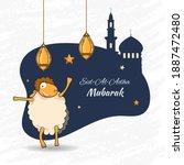 eid al adha mubarak font with... | Shutterstock .eps vector #1887472480