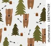 seamless pattern  bears  fir... | Shutterstock .eps vector #1887474439
