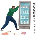 a vandal damages an equipment... | Shutterstock .eps vector #1887484039