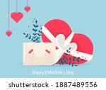 love mail with valentine card.... | Shutterstock .eps vector #1887489556