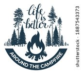Happy Camper. Bonfire In The...