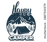 happy camper. camp  tent on the ... | Shutterstock .eps vector #1887543379