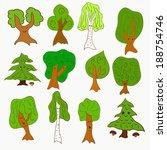 cute doodle vector tree set... | Shutterstock .eps vector #188754746