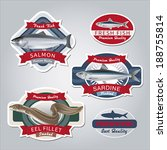 advertising,badge,banner,blue,brand,business,commerce,consumer,cooking,design,eel.,element,emblem,fillet,fish