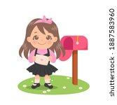 cute girl holding an envelope...   Shutterstock .eps vector #1887583960