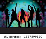 dancing people silhouettes.... | Shutterstock .eps vector #1887599830