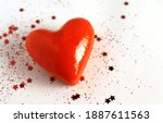Red Wax Heart Closeup On White...