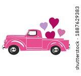 valentines truck vector.... | Shutterstock .eps vector #1887629383