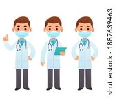 cartoon doctor character... | Shutterstock .eps vector #1887639463