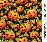 seamless halloween pattern with ... | Shutterstock . vector #1887655009