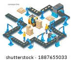 automatic factory with conveyor ... | Shutterstock . vector #1887655033