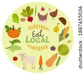 local organic production icons... | Shutterstock . vector #1887655036