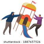 vandals destroy a children's... | Shutterstock .eps vector #1887657526