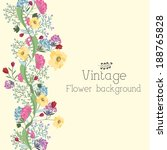 retro flower background concept.... | Shutterstock .eps vector #188765828