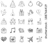 vector set of sketch weddings... | Shutterstock .eps vector #188766419