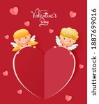 happy valentine's day with cute ... | Shutterstock .eps vector #1887699016