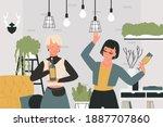 girls drinking wine vector... | Shutterstock .eps vector #1887707860