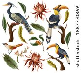birds and tropical leaves and...   Shutterstock .eps vector #1887770869