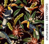 seamless pattern with birds and ... | Shutterstock .eps vector #1887770893