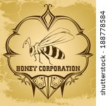 beautiful retro bee | Shutterstock .eps vector #188778584
