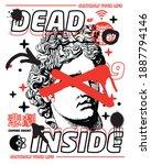 dead inside slogan translation  ... | Shutterstock .eps vector #1887794146