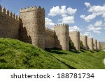scenic medieval city walls of...