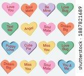 set of conversation hearts  3d... | Shutterstock .eps vector #1887821689