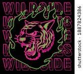 Neon Light Tiger Face Design...