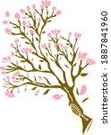 branch of sakura flower vector... | Shutterstock .eps vector #1887841960