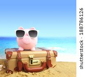 piggy bank travel suitcase with ... | Shutterstock . vector #188786126