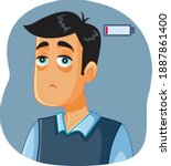 tired man feeling exhausted and ... | Shutterstock .eps vector #1887861400