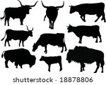 illustration with nine bull and ... | Shutterstock .eps vector #18878806